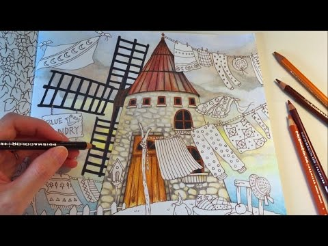 blue-bird's-laundry-(part-1)- -romantic-country-coloring-book- -colored-pencils-coloring