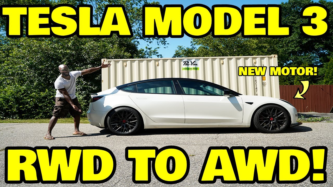 We hacked a Tesla model 3 to all wheel drive and it's fantastic!