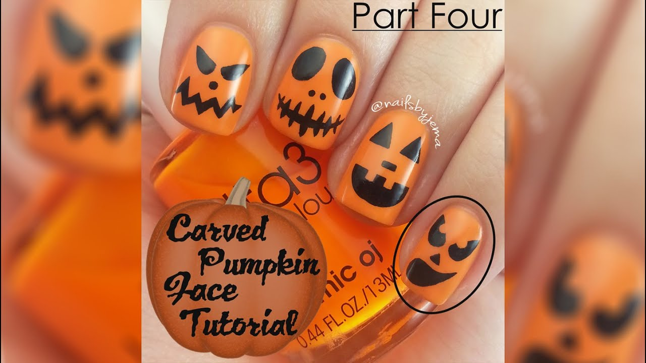 Halloween Carved Pumpkin Face Nail Tutorial For Beginners ...