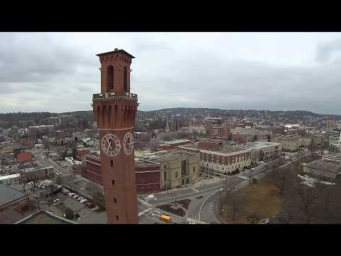 Flying the clock tower downtown Waterbury, CT
