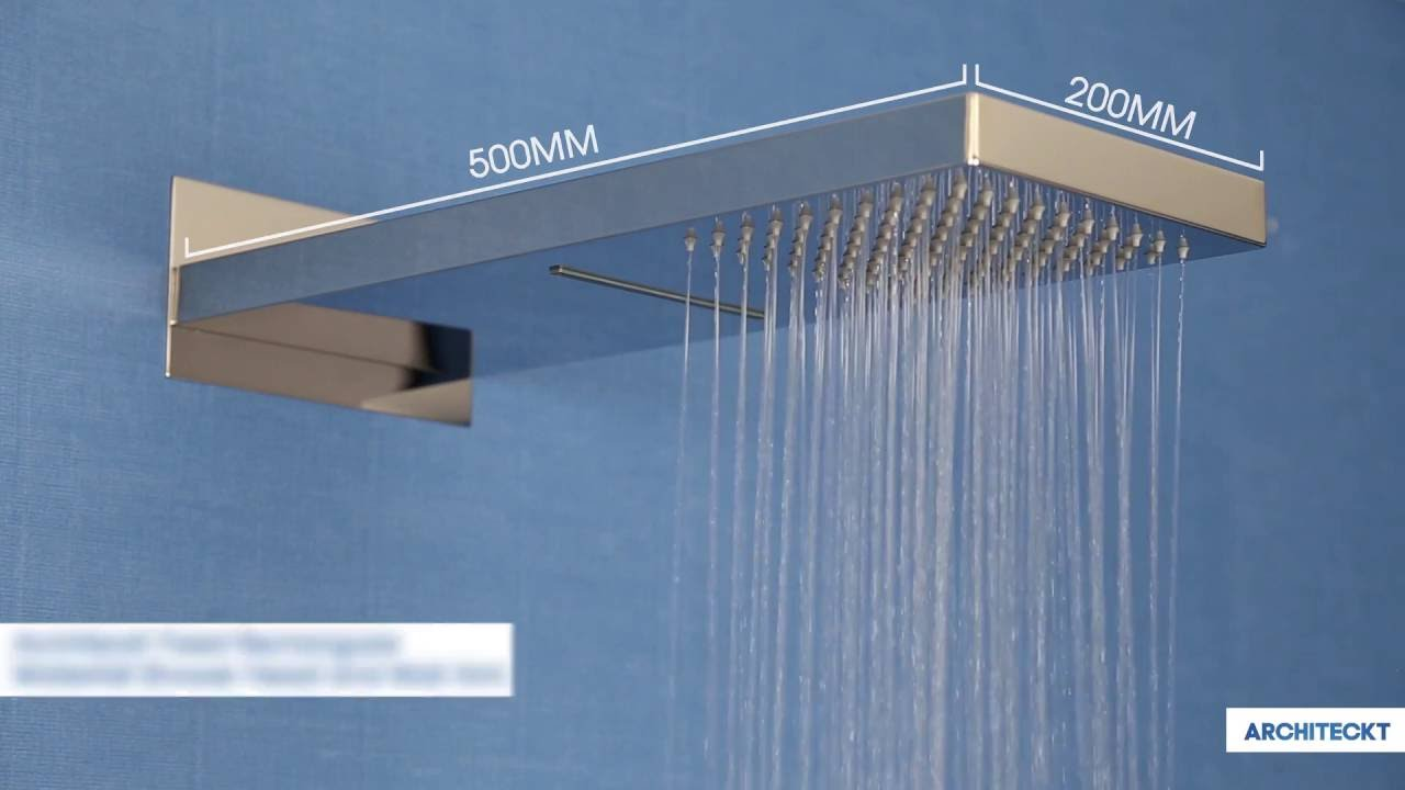 Architeckt Fixed Rectangular Waterfall Shower Head and Wall Arm ...