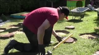 GARDEN DESIGN (19) - Drewno i kamienna kora wtopiona w trawnik