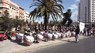 Drummers and runners from Athens 2012 Classical Marathon Race