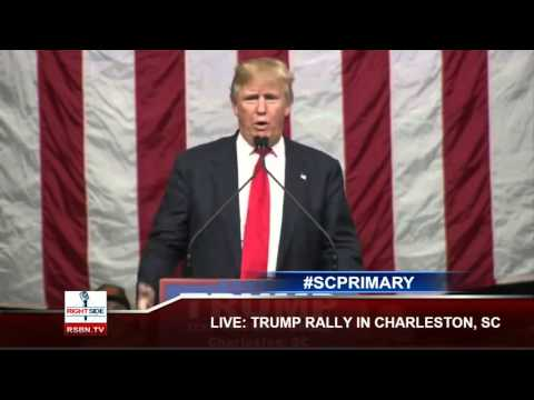 Donald Trump tells the story of General Pershing to a South Carolina crowd