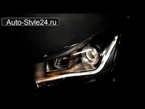 Передние тюнинг фары Шевроле Круз 2009-, ангельские глазки, c дневными ходовыми огнями, черные