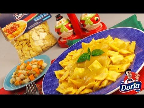 Ravioli pollo Doria en miel mostaza y ensalada de verduras