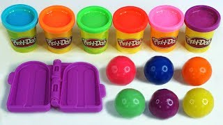 Making 3 Ice Cream Popsicles with Play Doh Balls Learn Colors Surprise Toys Kinder Egg