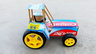 How To Make A Colgate Toy Tractor at home - mini tractor - Toothpaste box tractor Diy
