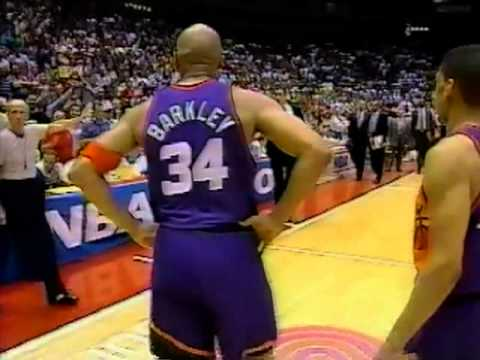Charles Barkley Flagrant Foul on Hakeem Olajuwan - 1994 NBA Playoffs Rockets Vs Suns