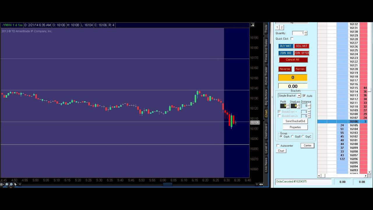 Live Dow Emini Future Scalping, Future Day Trading, Price Action Trading, 21st Feb, 2014
