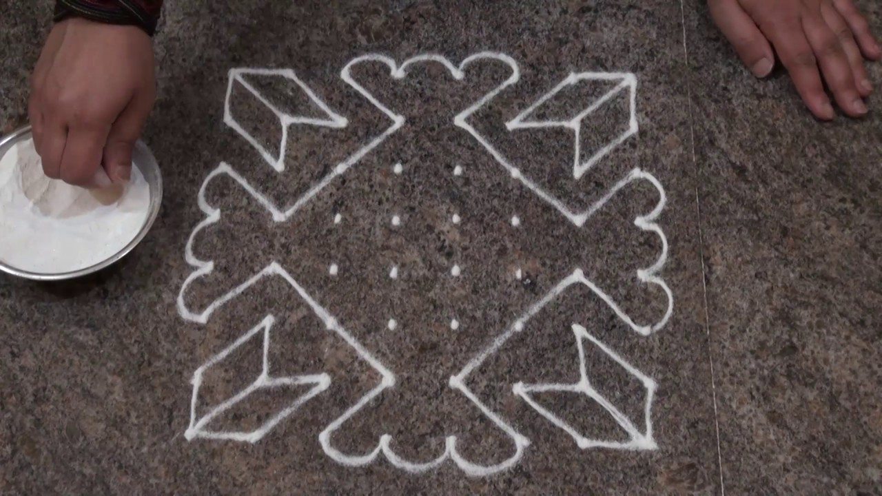 Simple and easy rangoli design simple dot rangoli for for Dots design apartment 8