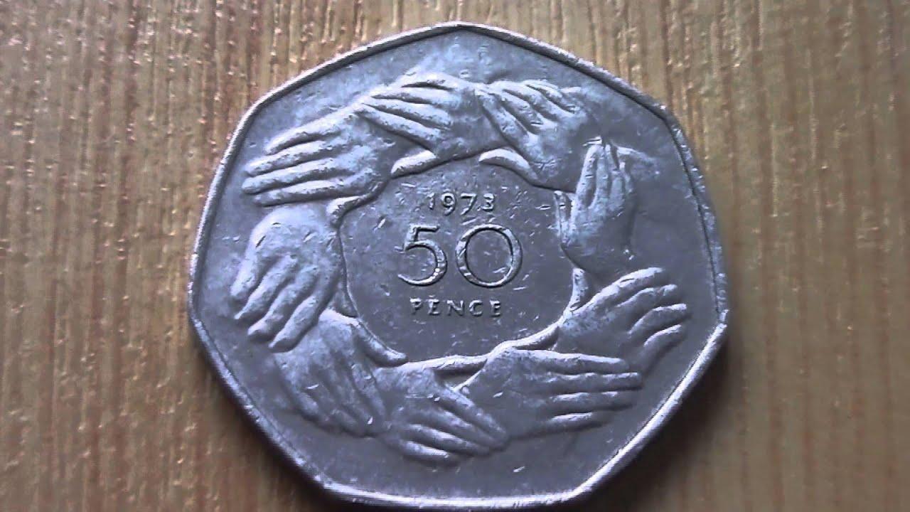 50 Pence Münze Aus England Von 1973 In Hd Youtube