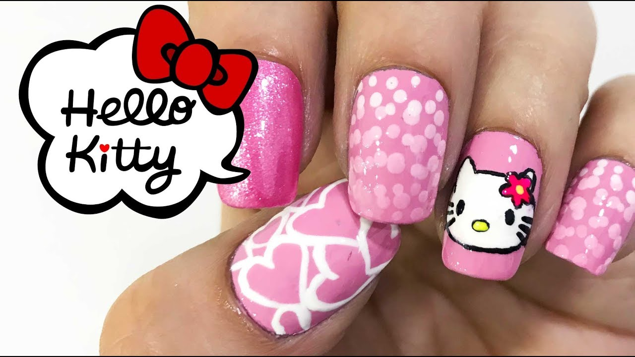 Diseño de uñas inspirado en Hello kitty - YouTube