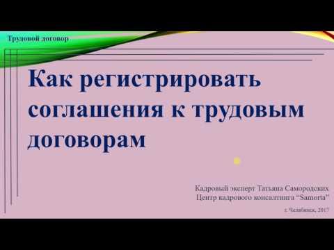 [Видеоинструкция] Регистрация соглашений к трудовому договору | Т.А. Самородских