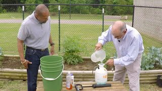Mixing and Applying Fungicide -- Family Plot