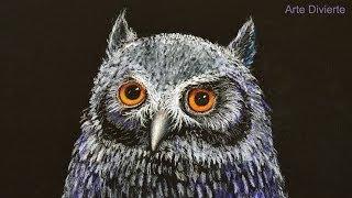 Cómo dibujar una lechuza de noche - Arte Divierte.