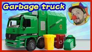 Funny Clown Bob & Bibi | Learn Construction vehicles Garbage truck & garbage sorting Video for kids