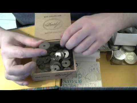 Trouvaille de brocante - boite de pieces de monnaie de collection en argent et en or