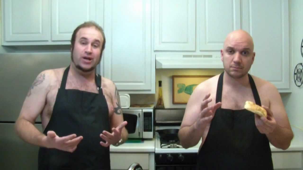 Two Naked Men Making A Sandwich