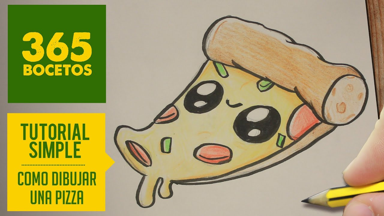 COMO DIBUJAR UNA PIZZA KAWAII PASO A PASO , Dibujos kawaii faciles , How to draw a Pizza , YouTube