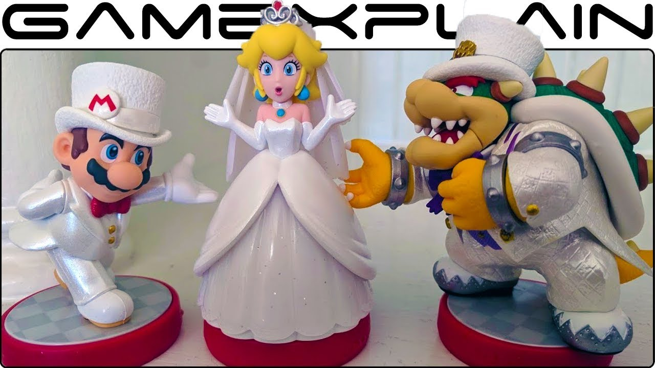 Super Mario Odyssey Amiibo Unboxing Postcards Wedding Mario Peach Bowser