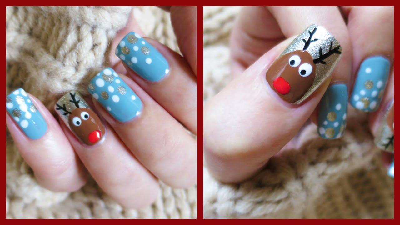 Christmas nail art easy reindeer design missjenfabulous youtube prinsesfo Images