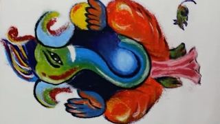 How to draw Ganpati or Ganesha in Rangoli - Poster Rangoli