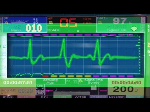 60 sec COUNTDOWN TIMER (v 126) ECG/EKG STYLE clock with sound effects  4k hd