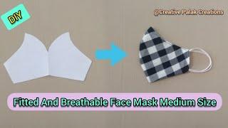 DIY Fabric Face Mask drafting, cutting and Stitching Medium Size/घर पर बनाएं कपड़े का फेस मास्क।
