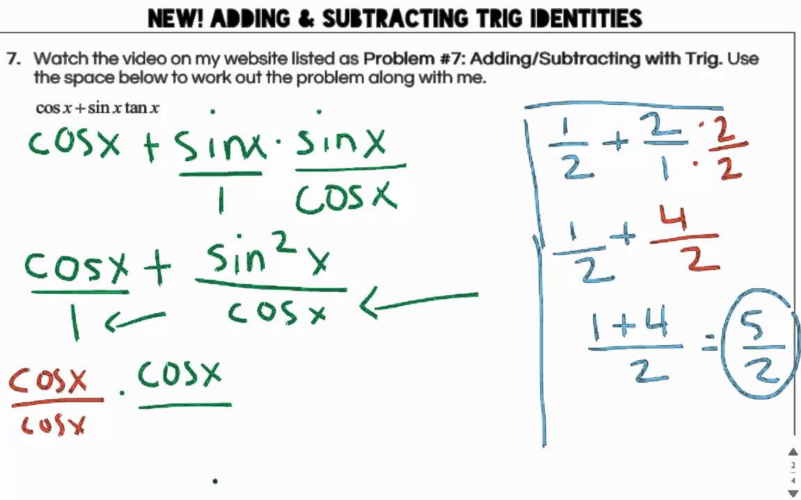 Adding + Subtracting Trig Identities Video - Katie Myers - YouTube