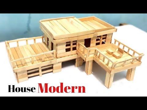Cara Membuat Miniatur Rumah Modern Dari Stik Es Krim Youtube