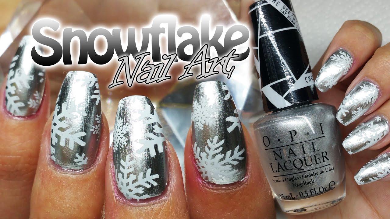 Easy Snowflakes Nail Art Christmas Nail Art Moyou Stamping Youtube