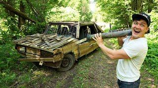 Что будет если выстрелить в деревянный жигуль из базуки