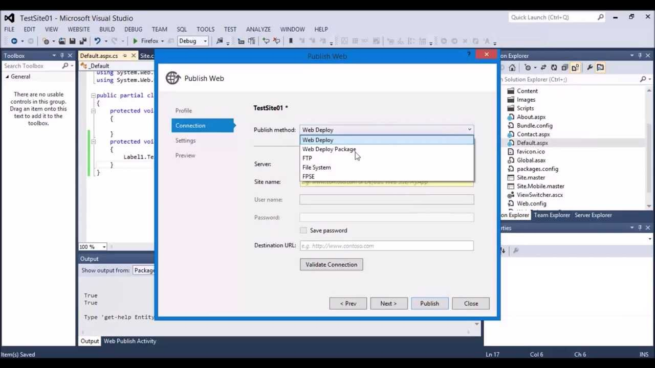 Publish a Website with IIS from Visual Studio 2012