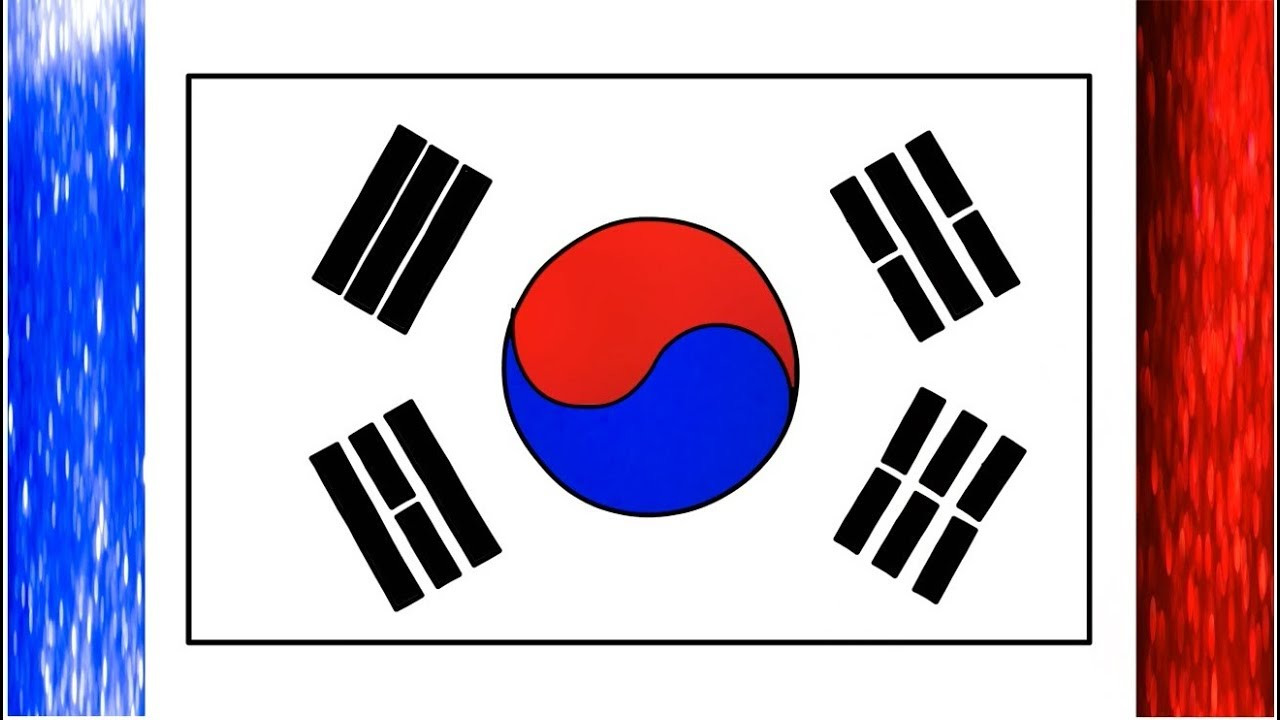 South korea flag drawing the national flag south korean - Picture of a korean flag ...