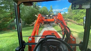 #883 Stumps, Roots, Brush GONE! Combuster Pit, Kubota MX 5400 and Land Pride Grapple