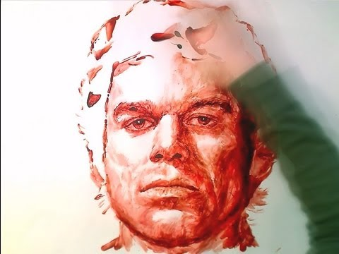 Artist tries to paint portrait with just red ink - Result is WTF.