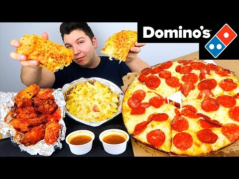 My First Time Trying Domino's Pizza, Wings, & Pasta • MUKBANG