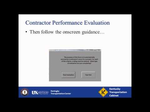 Contractor Performance Evaluation Training Video