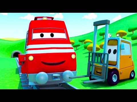 Troy The Train and the Forklift in Car City | Cars & Trucks cartoon for children