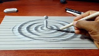 Amazing Trick Art - How to Draw 3D Water Drop Illusion - Easy 3D Art with Lines