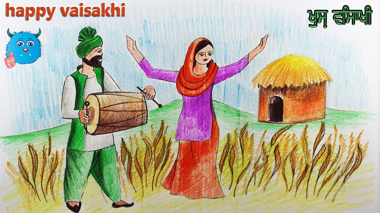 Baisakhi Festival Drawing Of Baisakhi Dance In Detail For Kids And Beginners Step By Step Youtube