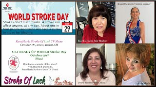 GET READY for WORLD Stroke Day October 29th -Plus- ReneMarie Stroke Of Luck TV Show Oct 18  10:00 AM