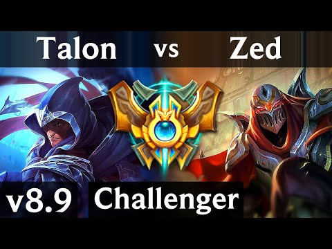 TALON vs ZED (MID) ~ Legendary, 700+ games, KDA 13/2/1 ~ Korea Challenger ~ Patch 8.9