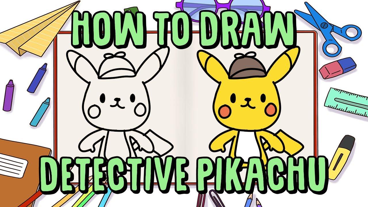 How To Draw Detective Pikachu Cute | Pokemon Movie ...