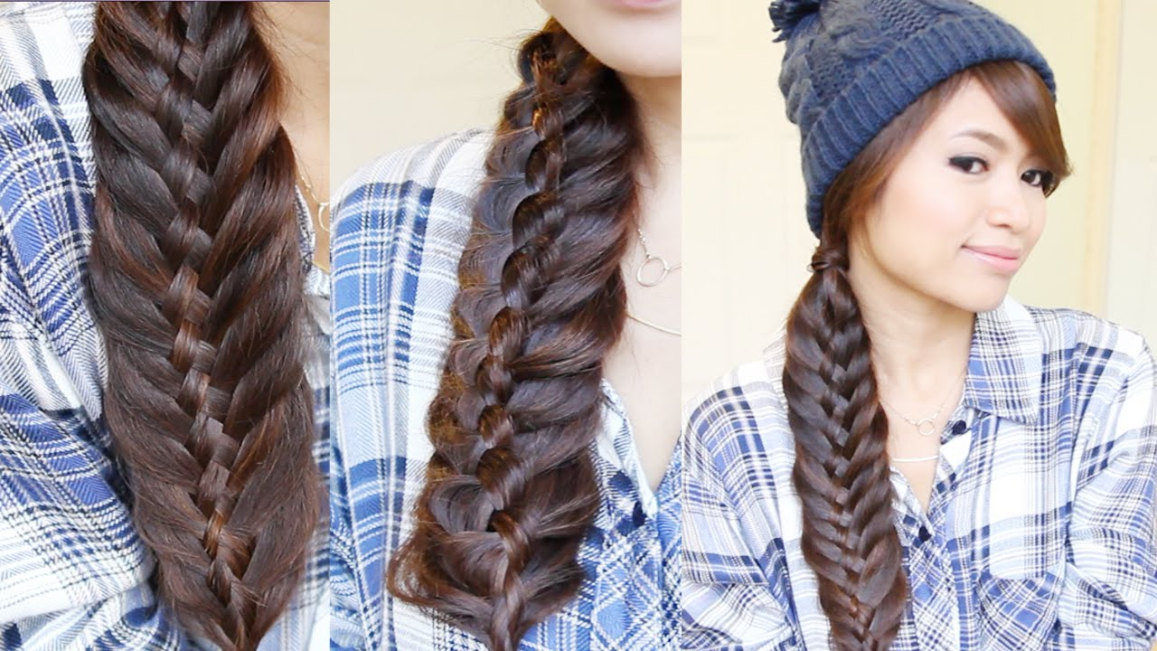 woven fishtail braid hairstyle