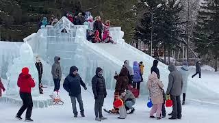 ТЮБИНГ Советский ПАРК ! ГОРКИ ! Зимние развлечения ! SIBERIA