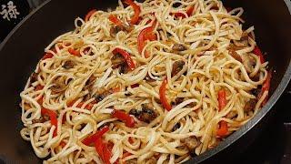 Китайская Лапша Удон с овощами и грибами. Как приготовить Удон. Рецепт