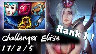 Challenger Elise Jungle vs Lee Sin   S7 First Rank #1 Challenger   Korea High Elo