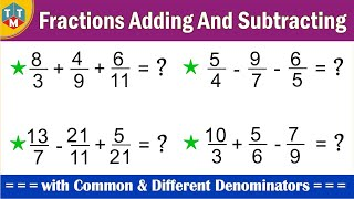 Adding and Subtracting Thŗee Fractions by LCM method || Fractions addition and subtraction trick